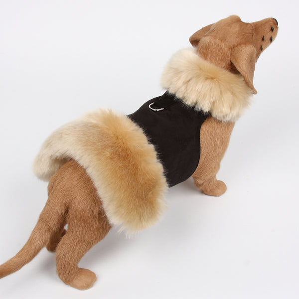 BLACK FAUX FUR WITH CHAMPAGNE FOX-PLAIN DOG COAT, Coats - Bones Bizzness