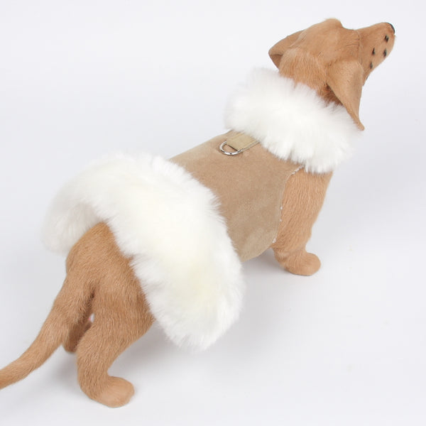 CAMEL FAUX FOX FUR MUFF DOG COAT, Coats - Bones Bizzness