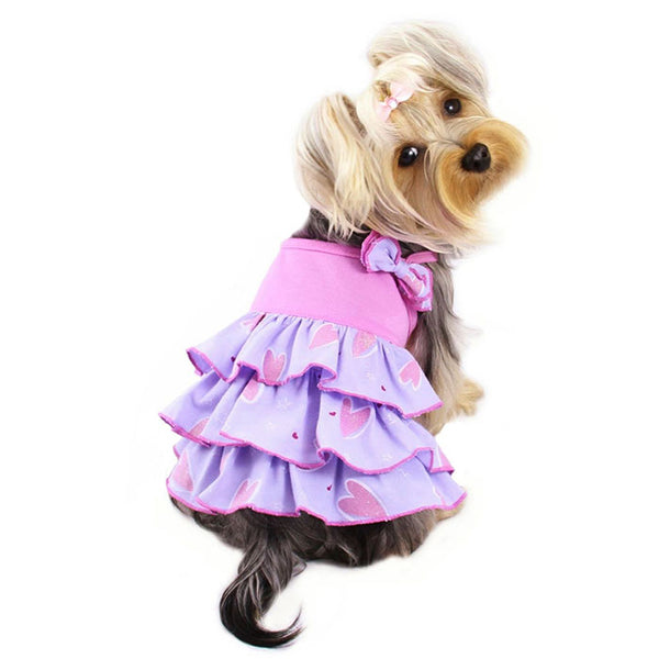 SHIMMERY HEARTS RUFFLE DOG DRESS W/ BOW, DRESS - Bones Bizzness