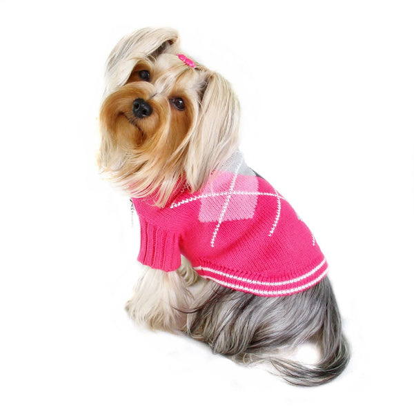 ARGYLE TURTLENECK DOG SWEATER - PINK, Sweaters - Bones Bizzness