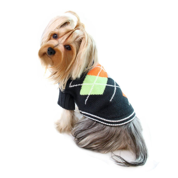 ARGYLE TURTLENECK DOG SWEATER - CHARCOAL NAVY, Sweaters - Bones Bizzness