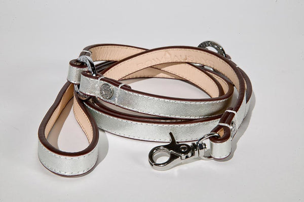 METALLIC SILVER DOG LEASH, Leash - Bones Bizzness