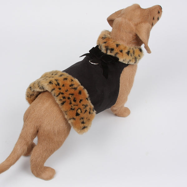 LYNX FAUX FUR DOG COAT BLACK, Coats - Bones Bizzness