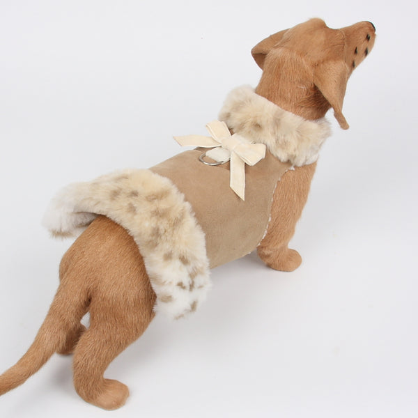LYNX CREAM BOWZER CAMEL & VELVET BOW DOG COAT, Coats - Bones Bizzness