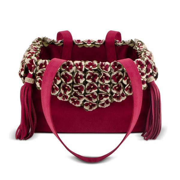BURGUNDY LUXURY PURSE FALLING LEAVES DOG CARRIER - BY SUSAN LANCI, Carriers - Bones Bizzness