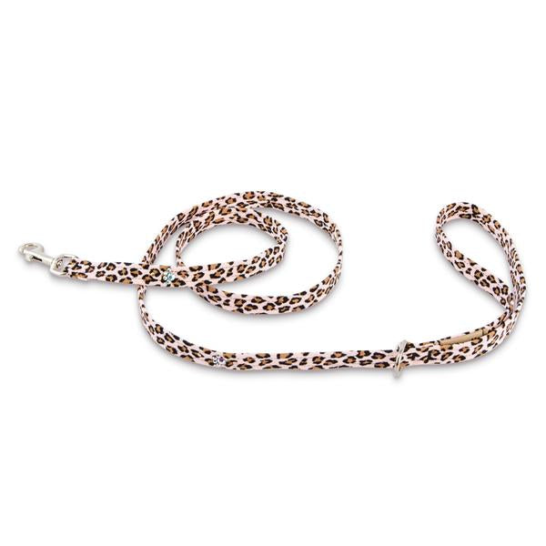 PINK CHEETAH COUTURE CRYSTAL PAWS DOG LEASH, Leash - Bones Bizzness