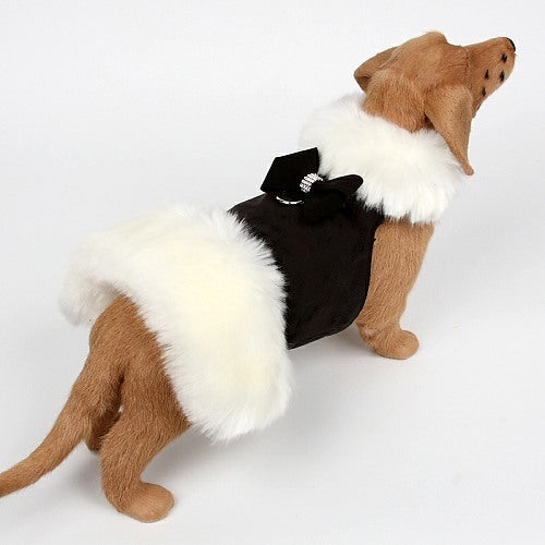 FAUX NOUVEAU BOW WHITE FOX FUR DOG COAT- BLACK, Coats - Bones Bizzness