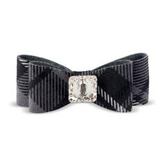 CHARCOAL PLAID BIG BOW HAIR BOW, HAIR BOW - Bones Bizzness