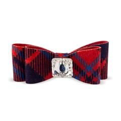 RED CHESTNUT PLAID BIG BOW HAIR BOW, HAIR BOW - Bones Bizzness