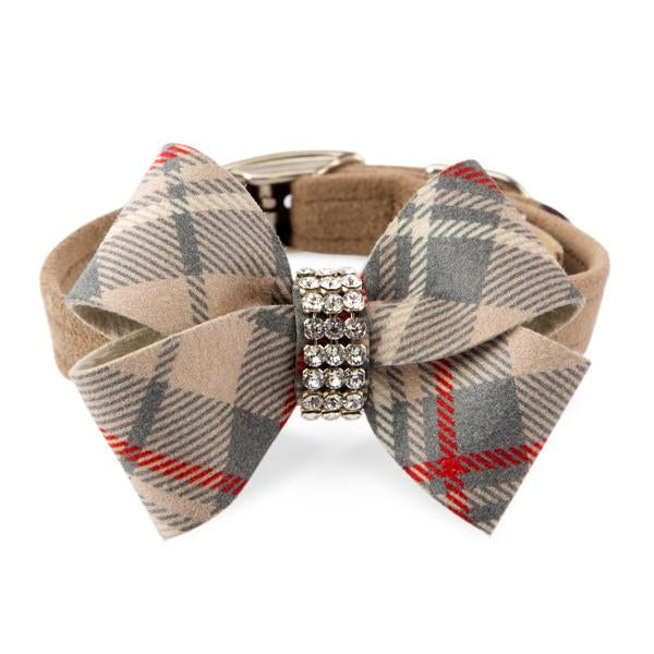 SCOTTY NOUVEAU FAWN PLAID BOW DOG COLLAR, Collars - Bones Bizzness
