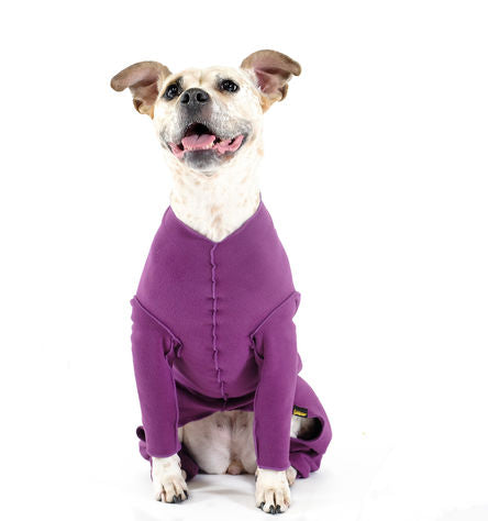 STRETCH FLEECE ONESIE DOG FLEECE - EGGPLANT