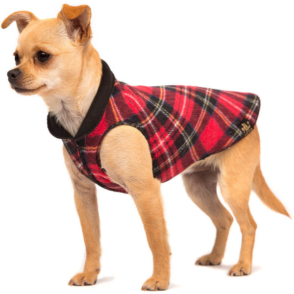 DULUTH DOUBLE FLEECE DOG SWEATER RED TARTAN/BLACK, Sweaters - Bones Bizzness