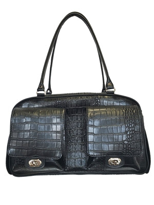 BLACK CROCO MARLEE DOG CARRIER, Carriers - Bones Bizzness