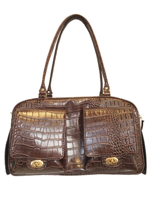 BROWN CROCO MARLEE DOG CARRIER, Carriers - Bones Bizzness