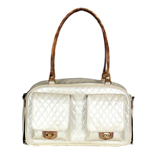 QUILTED MARLEE DOG BAG - IVORY, Carriers - Bones Bizzness