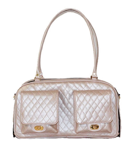 QUILTED MARLEE DOG BAG - PINK, Carriers - Bones Bizzness