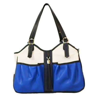 COBALT TRI COLOR W/ TASSEL METRO COUTURE DOG CARRIER, Carriers - Bones Bizzness