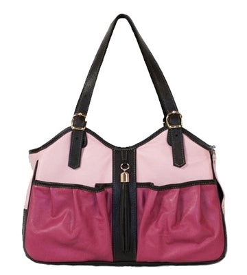 ROSE TRI COLOR W/ TASSEL METRO COUTURE DOG CARRIER, Carriers - Bones Bizzness