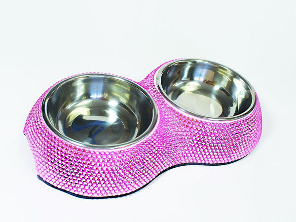 CRYSTAL DOG BOWL - PINK
