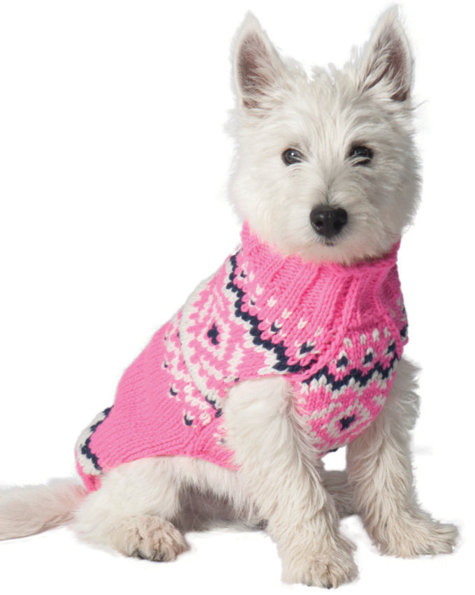 PINK NORDIC WOOL DOG SWEATER