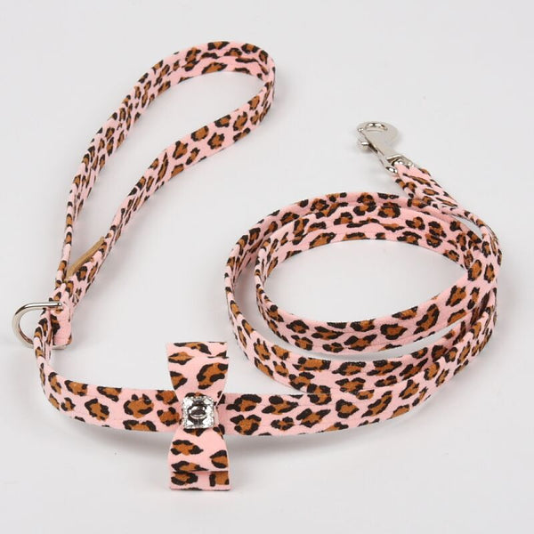 PINK CHEETAH COUTURE BIG BOW DOG LEASH, Leash - Bones Bizzness