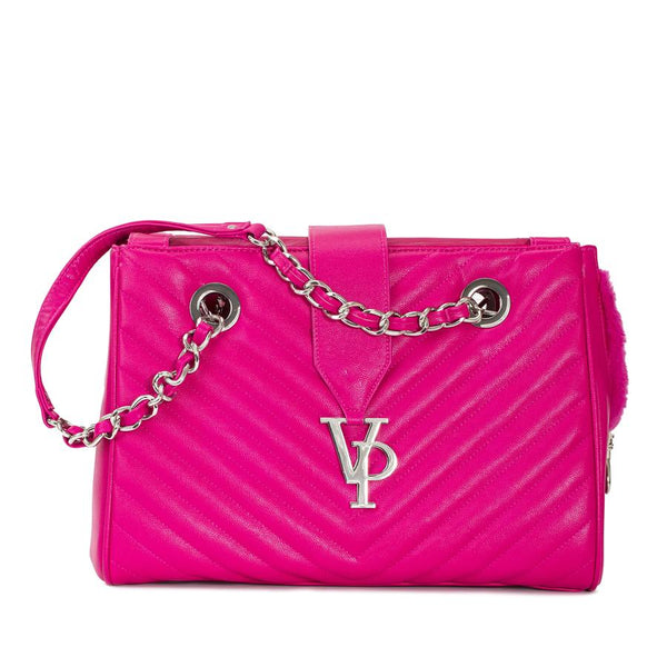 VANDERPUMP MONOGRAM CHAIN DOG CARRIER - HOT PINK