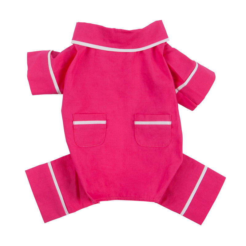 HOT PINK POPLIN DOG PAJAMAS, PAJAMAS - Bones Bizzness
