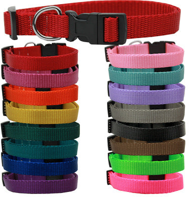 BEAUTIFUL PLAIN NYLON DOG COLLARS (16 COLORS), Collars - Bones Bizzness