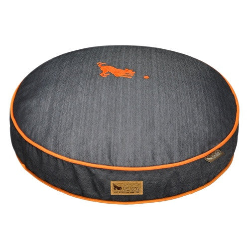 URBAN DENIM DOG BED w/ ORANGE TRIM, Beds - Bones Bizzness