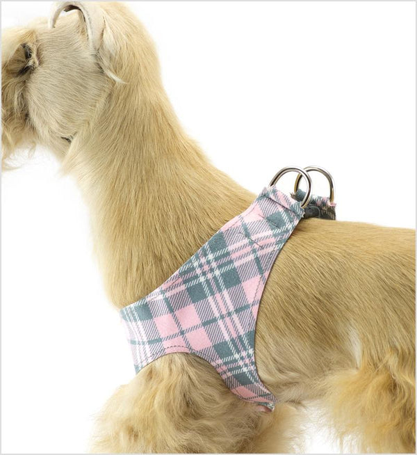 PUPPY PINK SCOTTY PLAID PLAIN STEP-IN HARNESS, Harness - Bones Bizzness