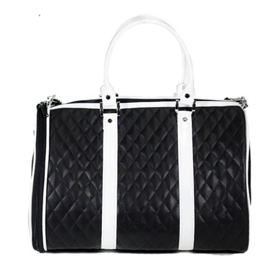 BLACK & WHITE QUILTED MINI JL DUFFEL DOG CARRIER, Carriers - Bones Bizzness