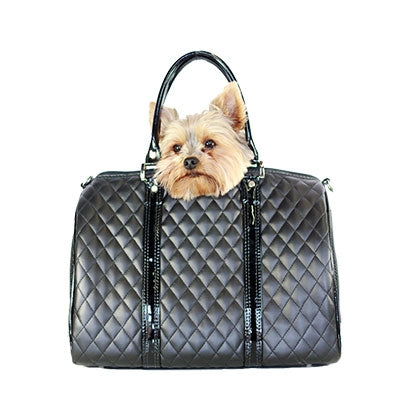 BLACK QUILTED MINI DUFFEL DOG CARRIER, Carriers - Bones Bizzness