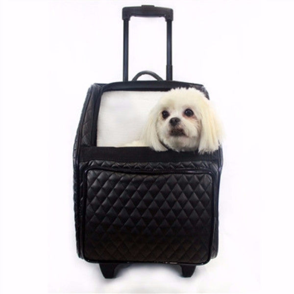 LUX QUILTED RIO BAG ON WHEELS 3-IN-1 DOG CARRIER - BLACK, Carriers - Bones Bizzness