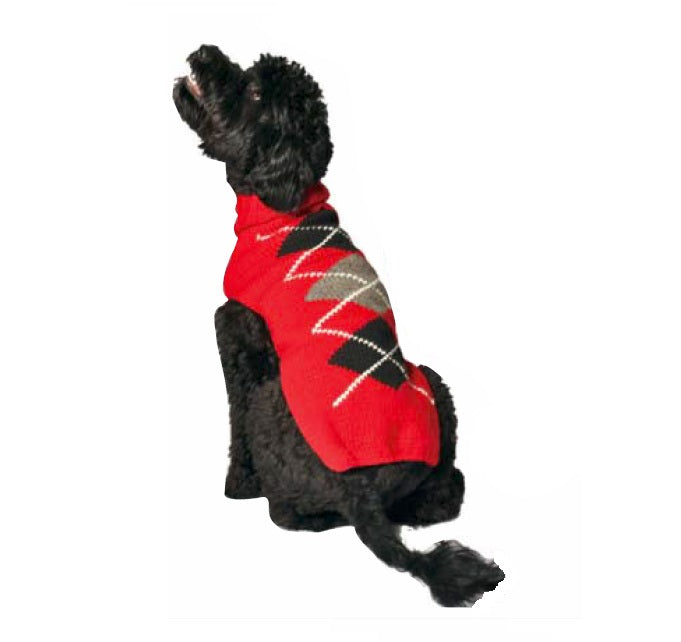 RED ARGYLE DOG SWEATER, Sweaters - Bones Bizzness