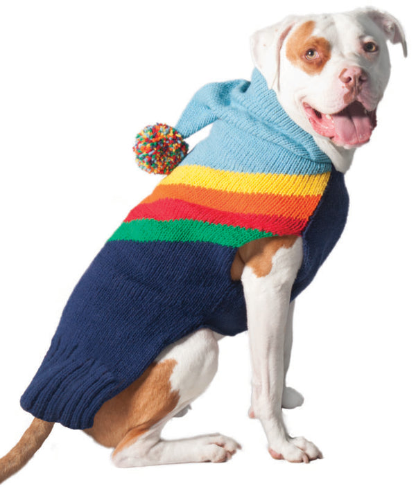 RAINBOW HOODIE WOOL DOG SWEATER
