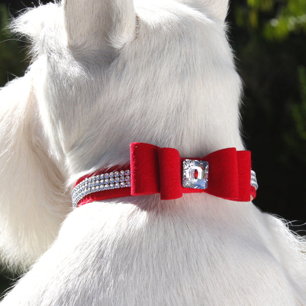 "SUSAN LANCI 3 ROW GILTMORE BIG BOW COLLAR 5/8"" (7 COLORS), Collars - Bones Bizzness"
