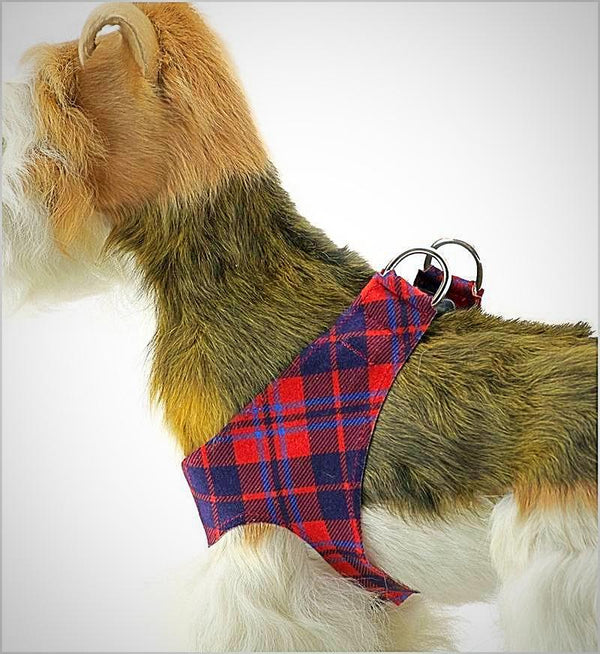 RED CHESTNUT SCOTTY PLAID PLAIN STEP-IN HARNESS, Harness - Bones Bizzness