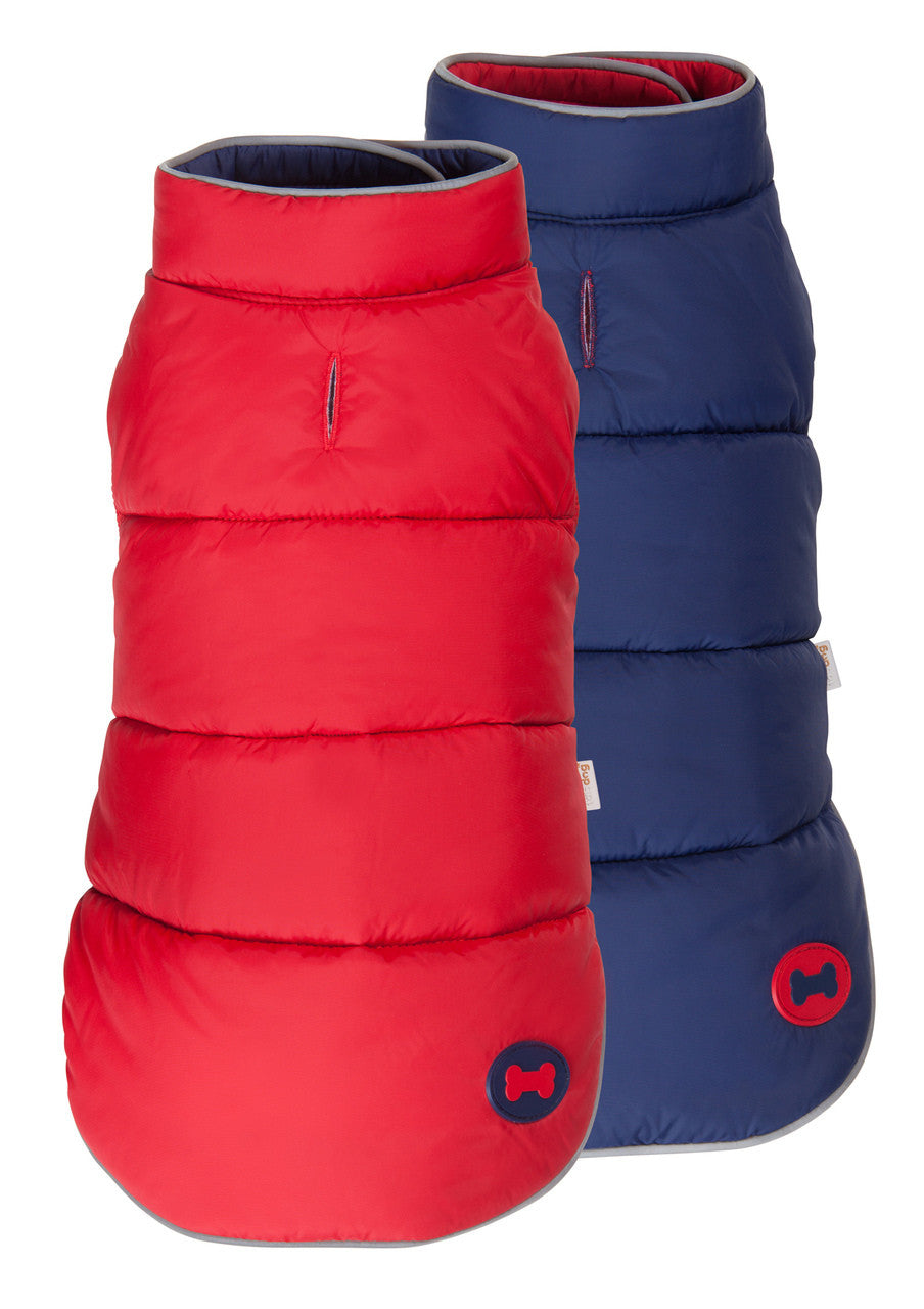 NAVY/RED REVERSIBLE BONE PUFFER DOG COAT, Coats - Bones Bizzness