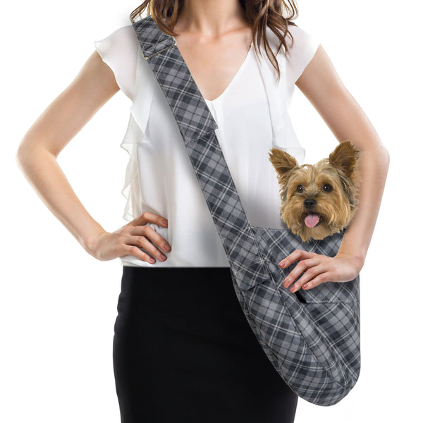 SCOTTY CHARCOAL PLAID CUDDLE DOG CARRIER, Carriers - Bones Bizzness