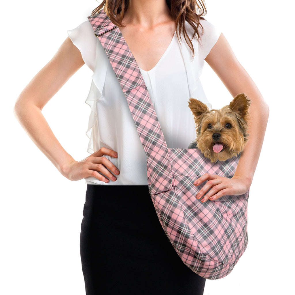 SCOTTY PUPPY PINK PLAID CUDDLE DOG CARRIER  - BY SUSAN LANCI, Carriers - Bones Bizzness