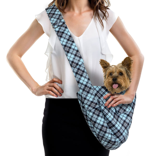SCOTTY TIFFI BLUE PLAID CUDDLE DOG CARRIER  - BY SUSAN LANCI, Carriers - Bones Bizzness