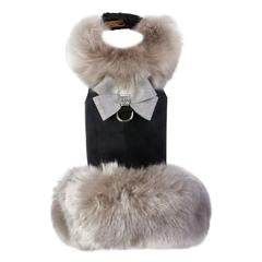 SOFT SILVER FOX COAT WITH PLATINUM GLITTERATI NOUVEAU BOW