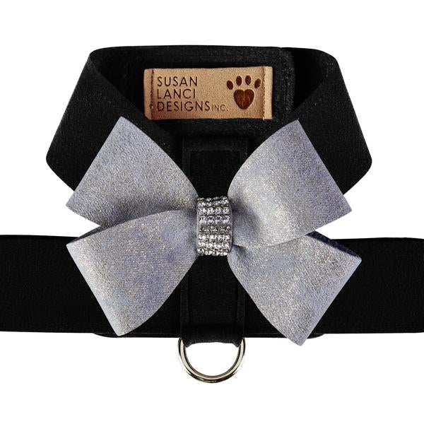 BLACK TINKIE HARNESS W/PLATINUM GLITZERATI NOUVEAU BOW