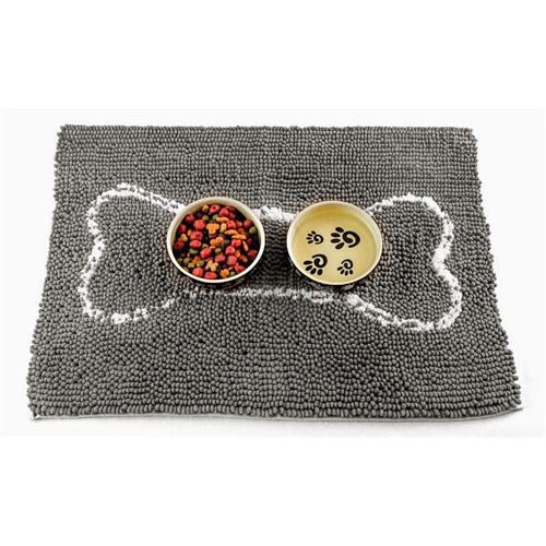 SOGGY DOGGY DOG DOORMAT GRAY W/ WHITE BONE, Rugs - Bones Bizzness
