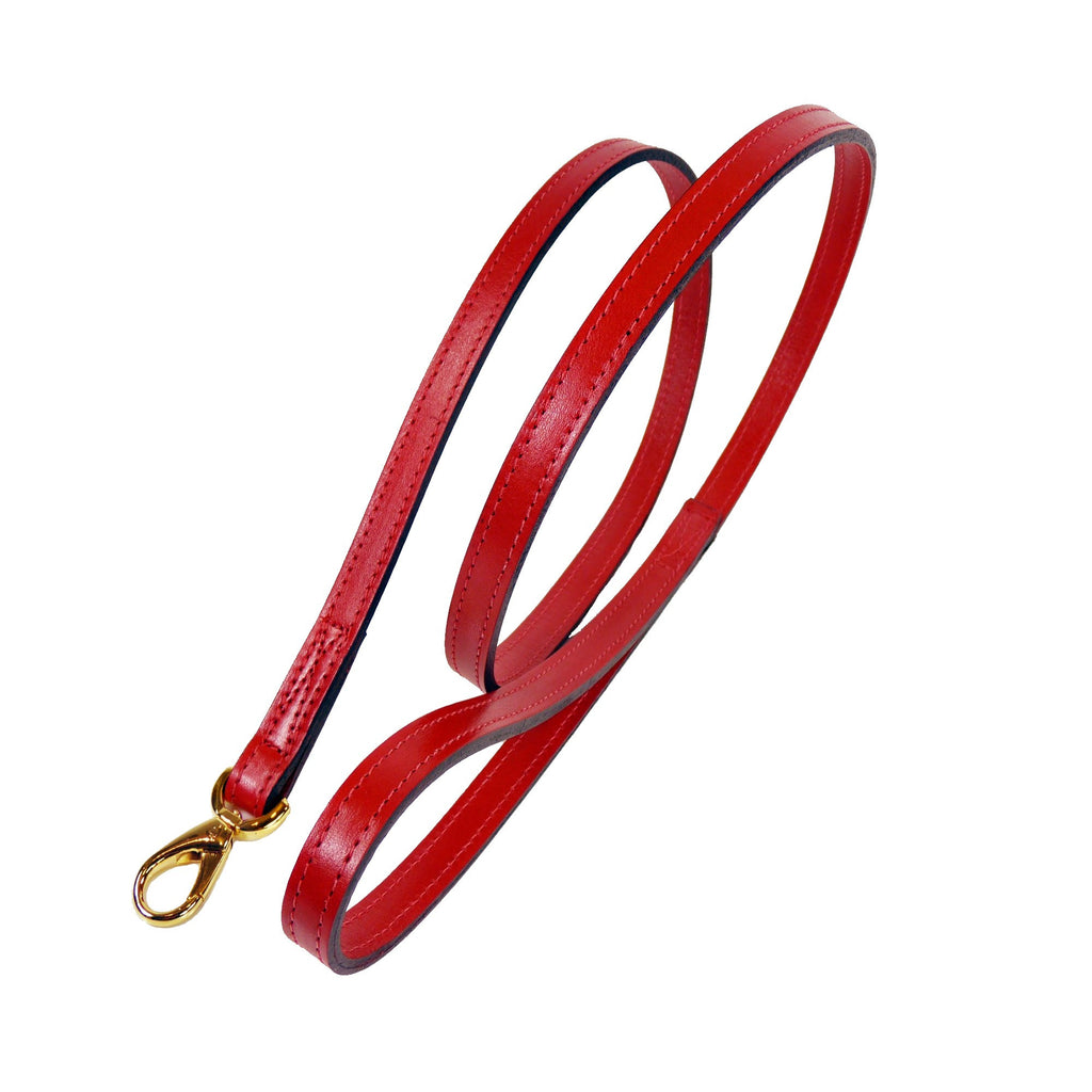 SOUTH SEAS DOG LEAD IN FERRARI RED & GOLD, Leash - Bones Bizzness