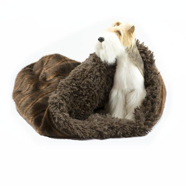 CHOCOLATE SABLE WITH CHOCOLATE SHAG CUDDLE CUP DOG BED, Beds - Bones Bizzness