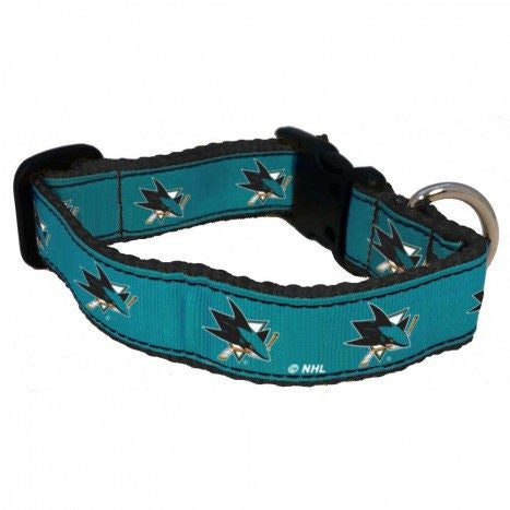 SAN JOSE SHARKS DOG COLLAR- RIBBON, NHL - Bones Bizzness