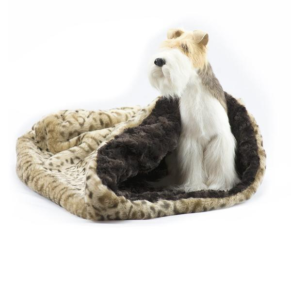 SAVANNAH WITH CHOCOLATE CURLY SUE CUDDLE CUP DOG BED, Beds - Bones Bizzness