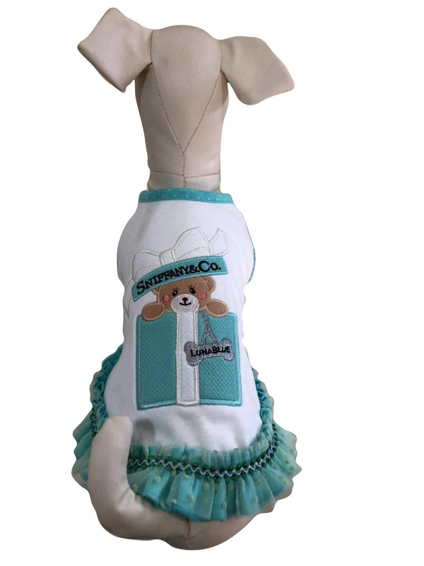 SNIFFANY BEAR GIFT BOX RUFFLE DOG DRESS