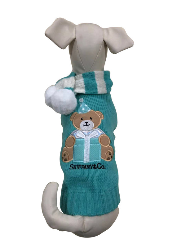 SNIFFANY BEAR DOG SWEATER WITH POMPOM SCARF